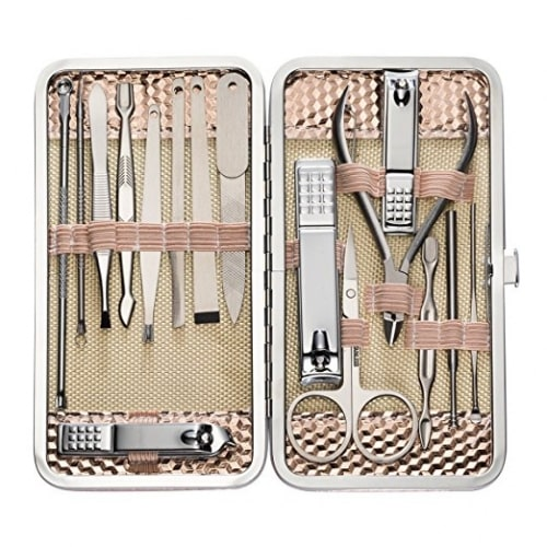 16 Pcs Nail Clippers Set Pedicure Kit Stainless Steel Nail Clipper ,Professional Nail Scissors Grooming Kit Manicure Includes Cuticle Remover Tools